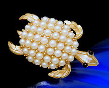 Crown Trifari Vintage Brooch Figural Turtle Pin Faux Pearls Ruby Red Bead Eyes
