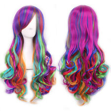 Multi Color Women's Lolita Rainbow Long Curly Wavy Hair Cosplay Party Full Wigs