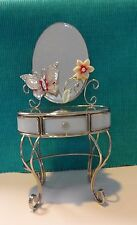 "Barbie Silkstone Doll Glass Chrome Vanity Mirror 10 "" Tall opening drawer NIB"