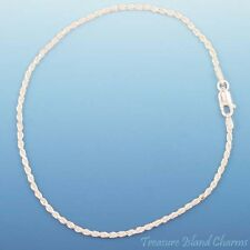 "9"" DIAMOND CUT DC ROPE Solid .925 Sterling Silver BRACELET ANKLET 2mm"