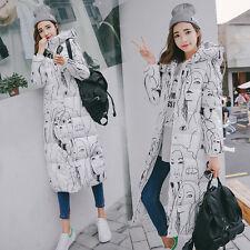 Womens Down Jackets Slim Long Hooded Cotton-Padded Warm Coats Parka Outwear