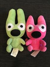 From Hallmark Greeting Cards, two plush monsters Hoops and Yoyo, 2004 green/pink