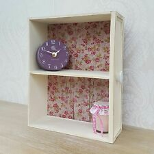 Small Wooden Wall Display Cabinet Shelf Unit Cream Shabby Chic Vintage Style