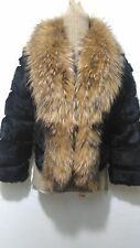 new design 100% real very soft rabbit fur with fox fur coat