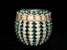 Turquoise/Natural Points over Black/Natural weavers Basket by GANESSA, Penobscot