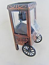 VINTAGE MINIATURE POPCORN CART  DIE CAST METAL BRONZE TONED (PENCIL SHARPENER)