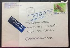 Singapore cover -1990 Insect stamp 75c rate to Czech Slovakia MISSENT Indonesia
