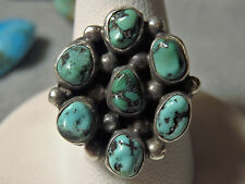 Antique 70s NAVAJO Natural NEVADA Nugget TURQUOISE STERLING SIlver CLUSTER RING