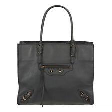 36878 auth BALENCIAGA medium grey leather MINI PAPER A4 Tote Bag