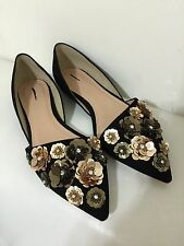 New J Crew Collection Sloane Flower Sequin d'Orsay Flats 10 E1081 Black $298