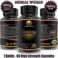 Korean Ginseng Panax Adaptogens Saponins 3600mg energy boost pills 60 Capsules