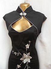 Oriental Chinese Black Silver MANDARIN dress size 20 22