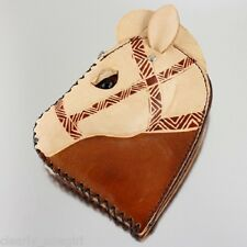 #8012 - WESTERN COWGIRL CHESTNUT BROWN TAN LEATHER HORSEHEAD COIN PURSE -WOW!