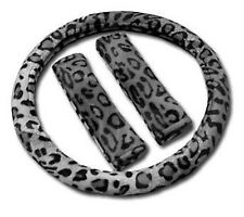 3pc GRAY LEOPARD Steering Wheel Cover SET Shoulder Pads Car Van Suv Truck