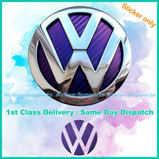 Chameleon Purple Carbon Fibre Style Inserts Sticker of VW Badge Golf R32 GTI TDI