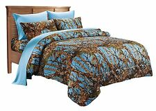 7 PC POWDER BLUE CAMO SET!! KING SIZE COMFORTER SHEET CAMOUFLAGE WESTERN