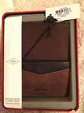 Men's Fossil Genuine Leather Brown Austin Bifold with Card Case in Tin     NWT
