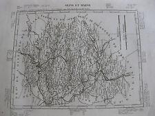 1835 Carte Atlas Géographique France Seine et Marne Melun Fontainebleau Provins