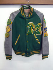 vtg Malden HS Varsity Jacket 60's Letterman Hatchers green wool gray sleeve sz L
