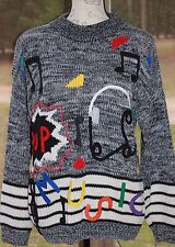 Retro 80s 90s Knit POP Music Sweater Headphones Musical Notes Band Teacher Music
