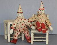 ANTIQUE  SCHOENHUT  CLOWNS  WITH  TABLE & CHAIR & CIRCUS  BACKDROP