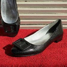 ECHTLEDER Damen LACK Ballerinas HEINE Schuhe Slipper Pumps Schwarz Silber Gr. 36