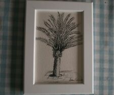 SINGLE PALM TREE Original Pen Drawing, IN WHITE FRAME 5.5 x 7 Inches