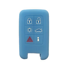 Sky Blue 6 Buttons Silicone Remote Key Fob Skin Cover Protector Jacket for Volvo