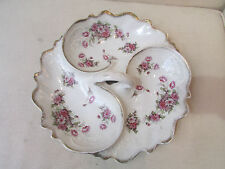 ancien serviteur en porcelaine 3 compartiments decor floral epoque 1900