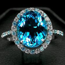 CHARMING! 3.75 CT. LONDON BLUE TOPAZ,SAPPHIRE REAL 925 SILVER RING SIZE 6.75