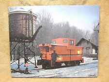 Caboose Train Winter Snow Tracks Lighted Canvas Wall Decor Sign T. Baldwin