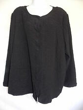 Eileen Fisher Woman 3x 100% Silk Quilted Button Front Blouse Tunic Black