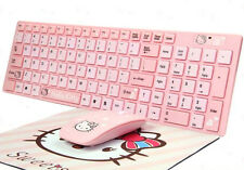 Kitty cat girl cute pink cartoon wireless Keyboard and Mouse Set For PC Laptop.