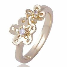 18k Womens Girls Yellow Gold Plated Rhinestone Flower Ring Size 6 For Child