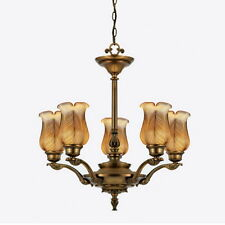 Legacy Brass And Threaded Leaf Art Glass 5 Light Chandelier