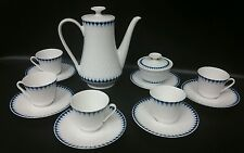 13pc Teapot Tea Set Winterling Roslau Bavaria White Porcelain Cobalt Blue