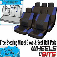 Ford Fiesta Focus BLUE & BLACK Cloth Seat Cover Full Set Split Rear Seat