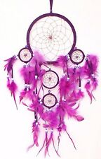 New Bright Purple Handmade Dream Catcher W/ Leather & Feather Car Wall Decor