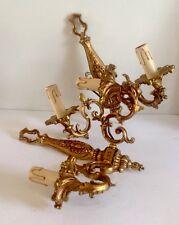 Paire d'appliques en bronze doré style Louis XV,éclairage,luminaire,lampe,XXE.