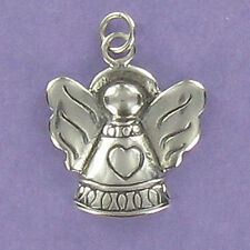 Angel with Large Wings Charm Sterling Silver for Bracelet Engraved Heart
