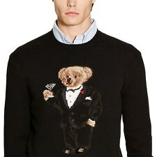 Polo by Ralph Lauren Martini Bear wool blend sweater tuxedo preppy NWT NEW sz S