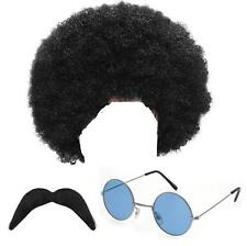 CHILDRENS KIDS BOYS HIPPY HIPPIE WIG MOUSTACHE & SUNGLASSES FANCY DRESS 1970S