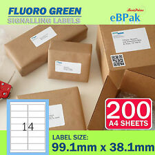 200 Sheets - Fluoro Green - Peel Paste Mailing Label 99.1x38.1mm 14 per Page
