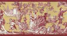 TOILE Country Wallpaper Border Red Gold White Rosedale WPB356-3