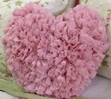 Shabby Chic Ruffle Heart Cushion / Throw Pillow Pink French Country 42x41cm