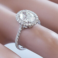 14K SOLID WHITE GOLD OVAL CUT DIAMOND ENGAGEMENT RING ART DECO STYLE 2.00CTW