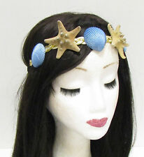 Gold Cream Blue Real Starfish Sea Shell Headband Hair Crown Mermaid Costume 810