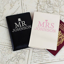 Personalised Mr & Mrs Bride and Groom Passport Covers Holder Set Wedding Gift