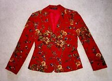 LAURA ASHLEY CORDUROY FLOWER BLAZER SUIT JACKET RED 6 LINED FLOWERED RARE