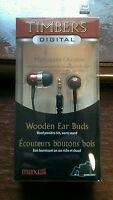Maxell Digital Mahogany Wooden Timbers Stereo Earbuds EE460538 ear buds
